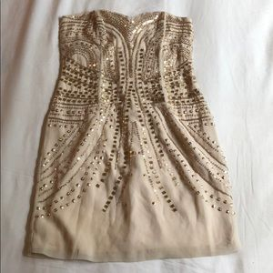 H&M Sequined Strapless Dress